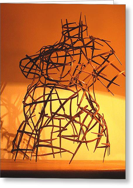 Torso Sculptures Greeting Cards - Welded Torso Greeting Card by Tommy  Urbans