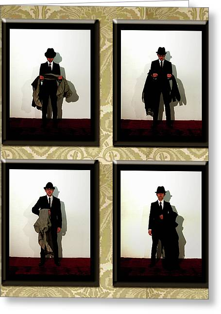 Man Dressed In Black Greeting Cards - What happened to her Greeting Card by Ema Ishii