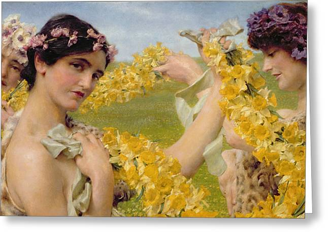 Sir Lawrence Alma-tadema Greeting Cards - When Flowers Return Greeting Card by Sir Lawrence Alma-Tadema