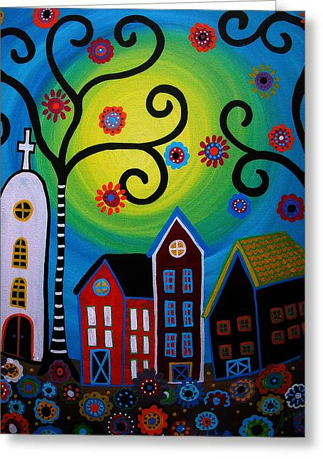 Carter House Greeting Cards - Whimsical Town Greeting Card by Pristine Cartera Turkus