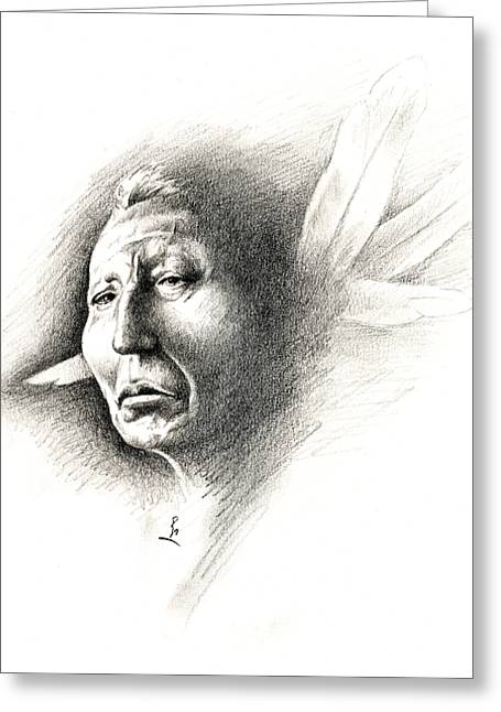 Chicano Greeting Cards - White Feather Greeting Card by Robert Martinez
