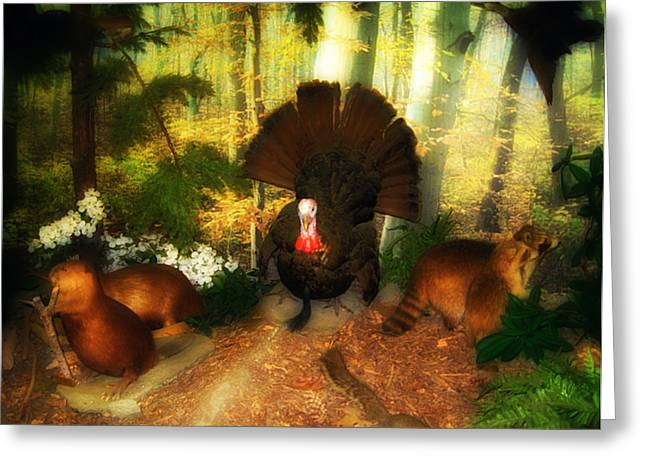 Raccoon Digital Art Greeting Cards - Wild Party in the Woods Greeting Card by Bill Cannon