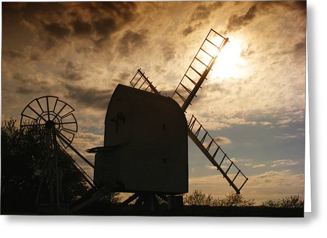 Mills Greeting Cards - Windmill at dusk  Greeting Card by Pixel Chimp