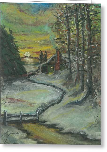 Winter Scene Pastels Greeting Cards - Winters Here Greeting Card by Shelby Kube