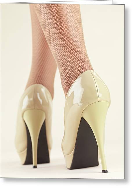 Low Heeled Shoes Greeting Cards - Woman Wearing High Heel Shoes Greeting Card by Oleksiy Maksymenko