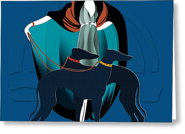 Greyhound Dog Greeting Cards - Woman with Greyhound Greeting Card by Christopher Williams