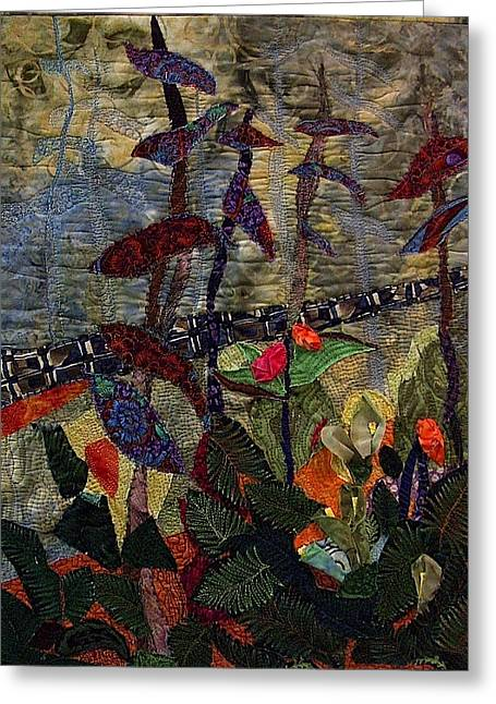 Edge Tapestries - Textiles Greeting Cards - Woodland Warriors Greeting Card by A Carole Atterbury