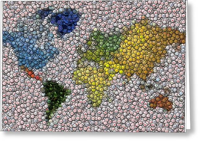 Bottlecaps Mixed Media Greeting Cards - World Map Bottle Cap Mosaic Greeting Card by Paul Van Scott