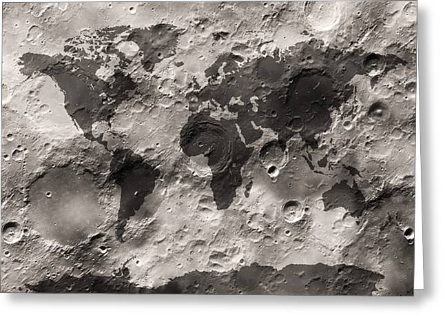 Craters Greeting Cards - World Map on the Moons Surface Greeting Card by Michael Tompsett