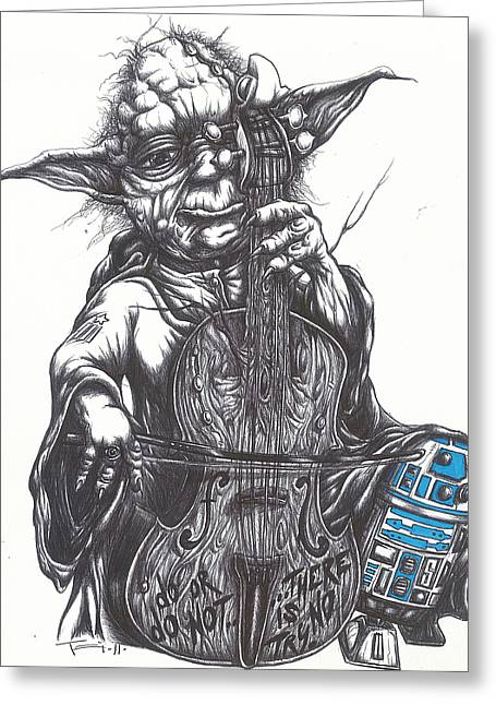 Star Drawings Greeting Cards - Yoda Soothes Baby R2 With the Charm of His Homegrown Cello Greeting Card by Iosua Tai Taeoalii