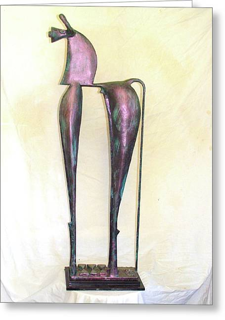 Organic Sculptures Greeting Cards - Young Trumpeting Horse Greeting Card by Al Goldfarb