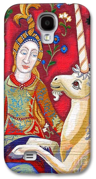 Girl Tapestries - Textiles Galaxy S4 Cases - Lady And The Unicorn Galaxy S4 Case by Genevieve Esson