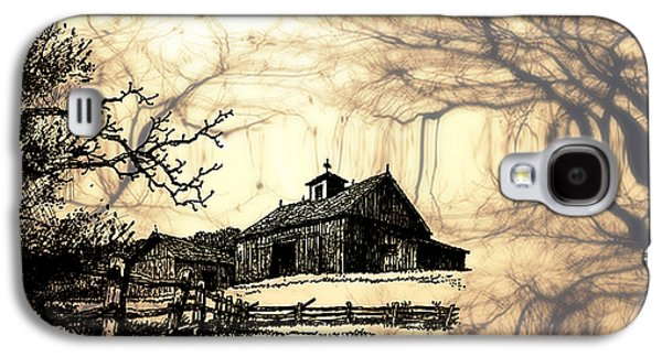 Barn Pen And Ink Galaxy S4 Cases - Barn Out Back 2 Galaxy S4 Case by Cheryl Young