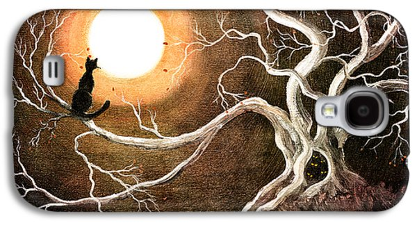 Halloween Digital Galaxy S4 Cases - Black Cat in a Spooky Old Tree Galaxy S4 Case by Laura Iverson