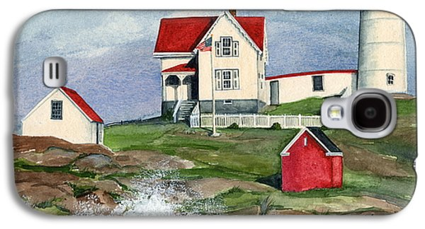 Nubble Lighthouse Paintings Galaxy S4 Cases - Cape Neddic Lighthouse  Galaxy S4 Case by Nancy Patterson