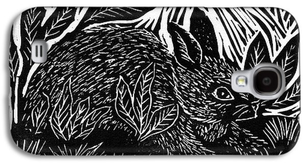 Linoleum Print Galaxy S4 Cases - Cottontail block print Galaxy S4 Case by Ellen Miffitt