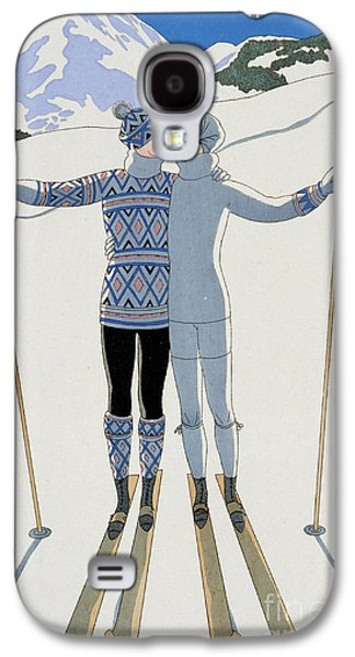 Christmas Cards - Galaxy S4 Cases - Lovers in the Snow Galaxy S4 Case by Georges Barbier