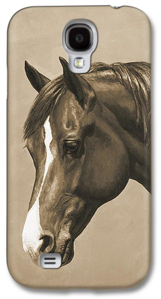 Chestnut Horse Galaxy S4 Cases - Morgan Horse Phone Case in Sepia Galaxy S4 Case by Crista Forest