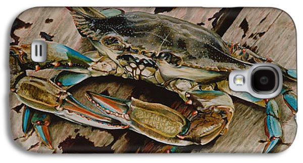 Restaurants Paintings Galaxy S4 Cases - Portrait of a Blue Crab Galaxy S4 Case by Rob Dreyer AFC