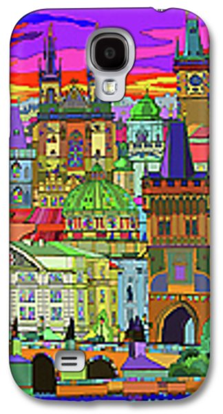 Architecture Mixed Media Galaxy S4 Cases - Prague Panorama Old Town Galaxy S4 Case by Yuriy  Shevchuk