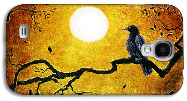 Crows Galaxy S4 Cases - Raven in Golden Splendor Galaxy S4 Case by Laura Iverson