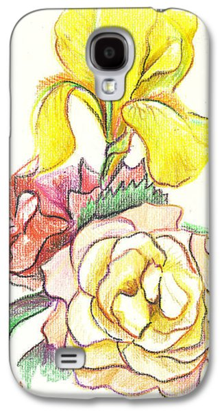 Flower Still Life Mixed Media Galaxy S4 Cases - Roses with Yellow Iris Galaxy S4 Case by Kip DeVore