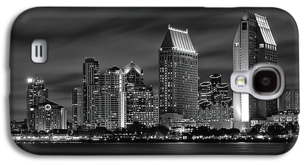 City Lights Galaxy S4 Cases - San Diego Skyline at Night  Black and White Galaxy S4 Case by Larry Marshall