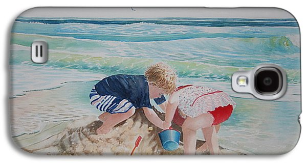 Sand Castles Paintings Galaxy S4 Cases - Saving the Sand Castle From the Tide Galaxy S4 Case by Tom Harris