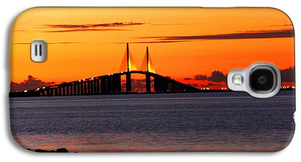 Sunshine Skyway Bridge Galaxy S4 Cases - Sunset over the Skyway Bridge Galaxy S4 Case by Barbara Bowen