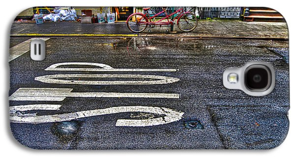 Stop Sign Galaxy S4 Cases - Tandem Bicycle Parked on Grove Street Galaxy S4 Case by Randy Aveille