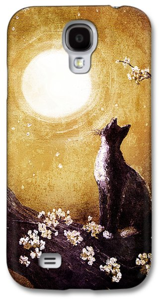 Cherry Blossoms Digital Art Galaxy S4 Cases - Tuxedo Cat in Golden Cherry Blossoms Galaxy S4 Case by Laura Iverson
