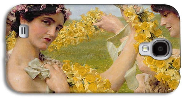 Alluring Paintings Galaxy S4 Cases - When Flowers Return Galaxy S4 Case by Sir Lawrence Alma-Tadema