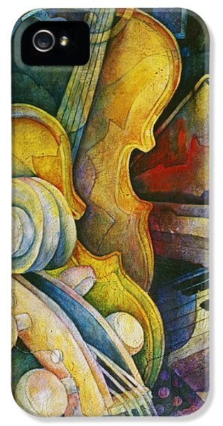 Music iPhone 5 Cases - Jazzy Cello iPhone 5 Case by Susanne Clark