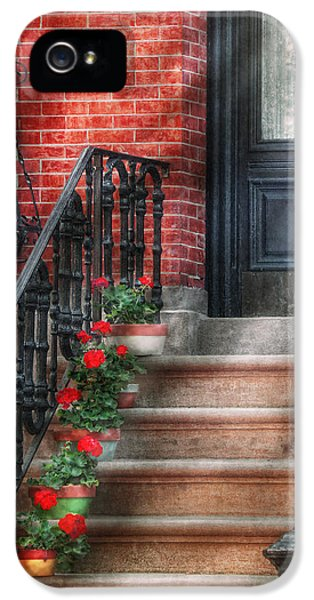 Realtor iPhone 5 Cases - Spring - Porch - Hoboken NJ - Geraniums on stairs iPhone 5 Case by Mike Savad