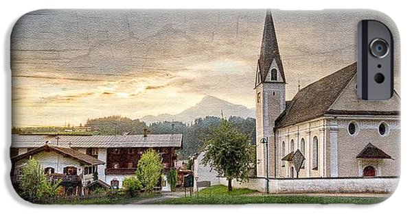 Rainy Day iPhone Cases - Country Church iPhone Case by Debra and Dave Vanderlaan