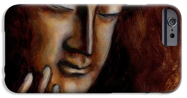 Buddhism Mixed Media iPhone Cases - Face of Mercy No.1 iPhone Case by Hiroko Sakai