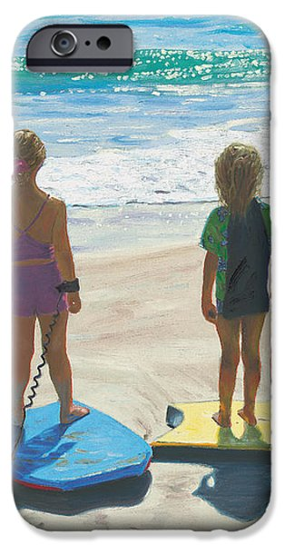 Board Paintings iPhone Cases - Girls on Boogie Boards iPhone Case by Steve Simon