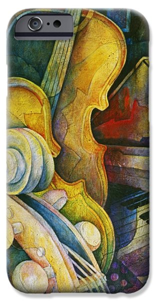 Greetings iPhone Cases - Jazzy Cello iPhone Case by Susanne Clark