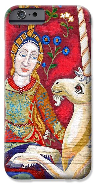 Genevieve Esson iPhone Cases - Lady And The Unicorn iPhone Case by Genevieve Esson