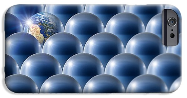 Terrestrial Sphere iPhone Cases - Single Earth, Conceptual Artwork iPhone Case by Detlev Van Ravenswaay