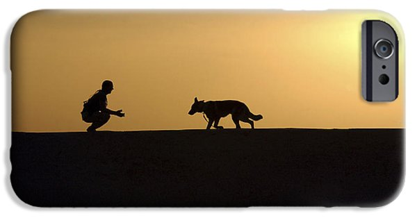 Bonding iPhone Cases - A Military Working Dog And His Handler iPhone Case by Stocktrek Images