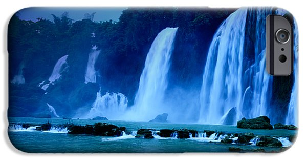 Moonlit Night Photographs iPhone Cases - Waterfall iPhone Case by MotHaiBaPhoto Prints