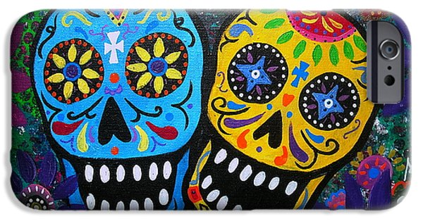 Carter House iPhone Cases - Couple Day Of The Dead iPhone Case by Pristine Cartera Turkus