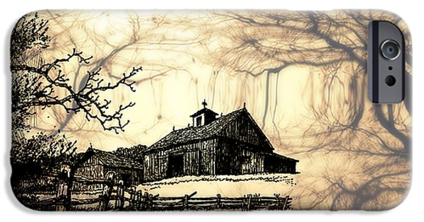 Old Barn Drawing iPhone Cases - Barn Out Back 2 iPhone Case by Cheryl Young