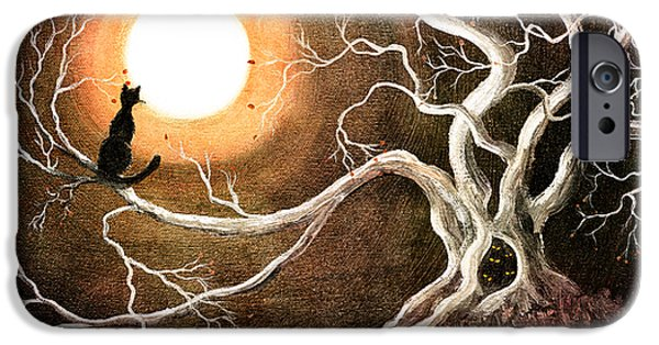 Halloween Digital iPhone Cases - Black Cat in a Spooky Old Tree iPhone Case by Laura Iverson