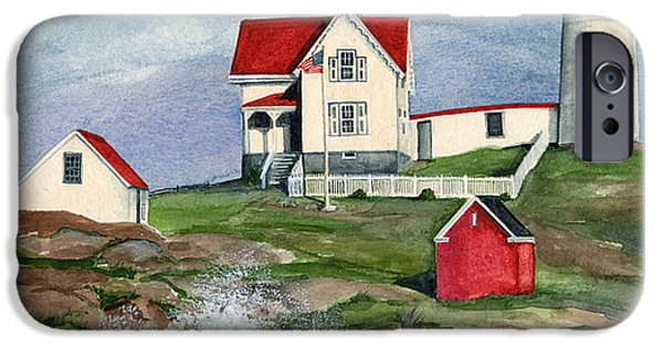 Nubble Lighthouse iPhone Cases - Cape Neddic Lighthouse  iPhone Case by Nancy Patterson