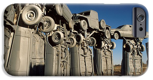 Nebraska iPhone Cases - Carhenge in the Afternoon iPhone Case by Jerry McElroy