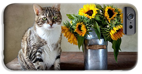 Shiny iPhone Cases - Cat and Sunflowers iPhone Case by Nailia Schwarz