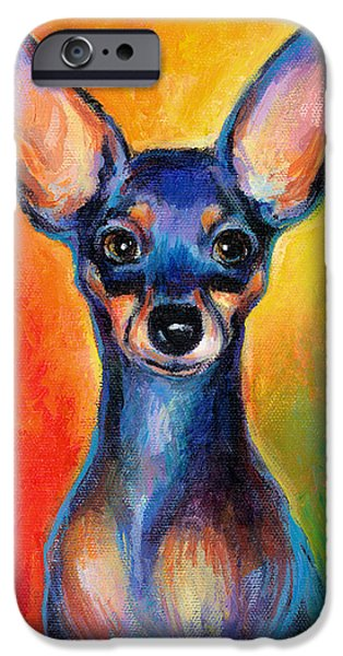 Cute Puppy iPhone Cases - Contemporary colorful Chihuahua chiuaua painting iPhone Case by Svetlana Novikova