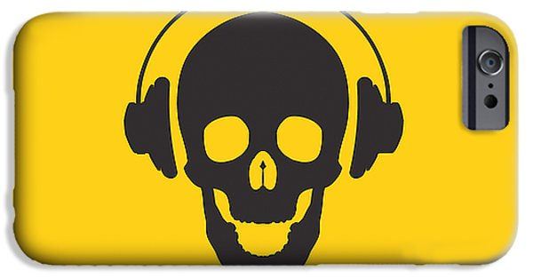 Stencil iPhone Cases - DJ Skeleton iPhone Case by Pixel Chimp